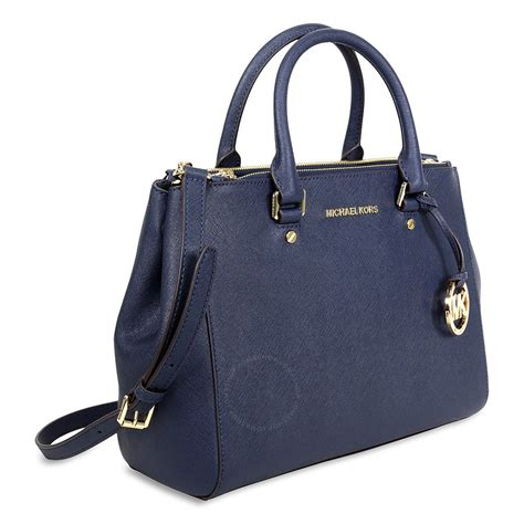 Mk Sutton Navy michael kors sutton leather medium satchel handbag navy