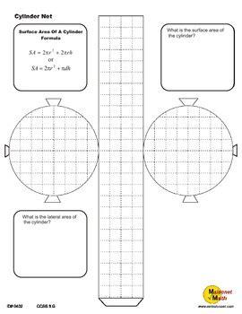Cylinder Net Surface Area Activity By Maisonet Math