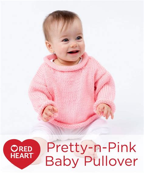 Sweater Anak N Bab Pink pretty n pink baby pullover free knitting pattern in yarns with rolled edges and