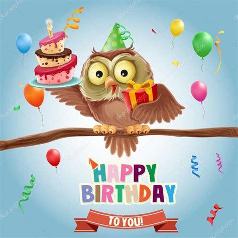 imagenes vectoriales feliz cumpleaños pancarta de feliz cumplea 241 os con buho archivo im 225 genes