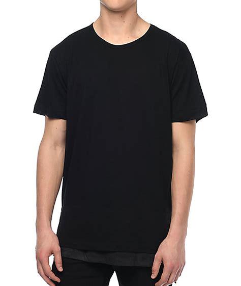 Kaos Longline T Shirt Basic Black 2 eptm faux layer sq bottom black elongated t shirt zumiez