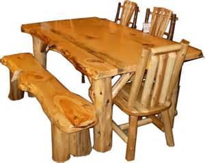 rustic log dining