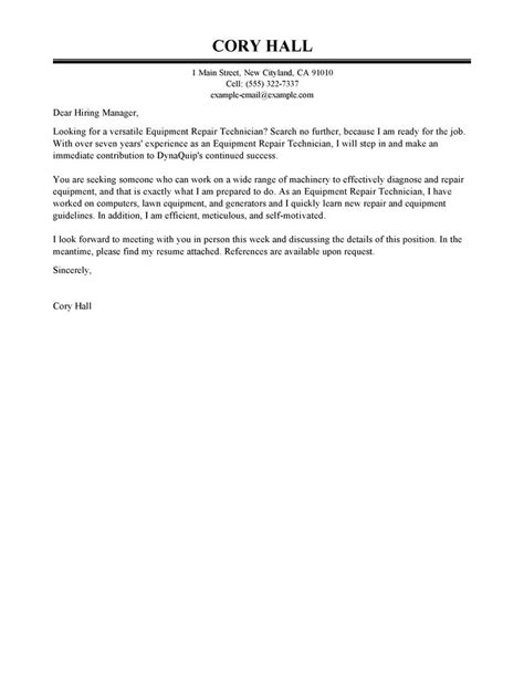 Installation & Repair Cover Letter Examples   Installation