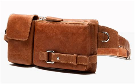fashion genuine leather waist bag for pack