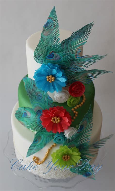 Peacock Feather Cake Decorations by Peacock Feathers And Flowers Cake Cakecentral