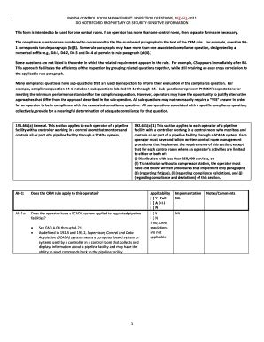 Phmsa Control Room Management Inspection Form Word - Fill