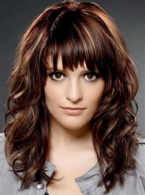 medium hairstyles curly hair with bangs medium length haircuts with bangs for wavy hair