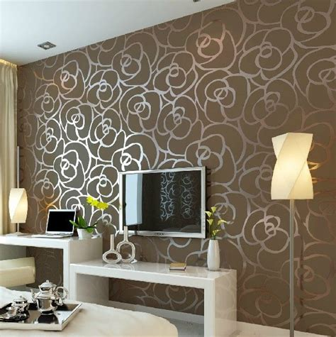 Home Wallpaper Decor by Luxury Flocking Textured Wallpaper Modern Wall Paper Roll
