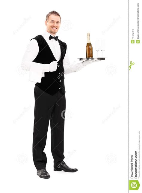 professional waiter holding a tray with chagne stock