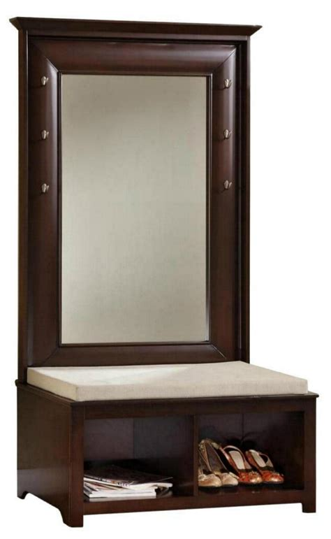 entryway bench and mirror living room mirror hall tree entryway wood storage bench