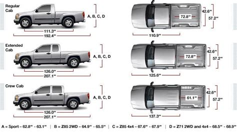 chevy colorado bed size pickup truck bed size dimensions chart 2017 2018 best car reviews