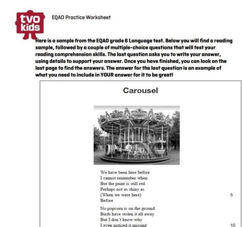 printable eqao practice sheets grade 6 reading worksheets and language on pinterest