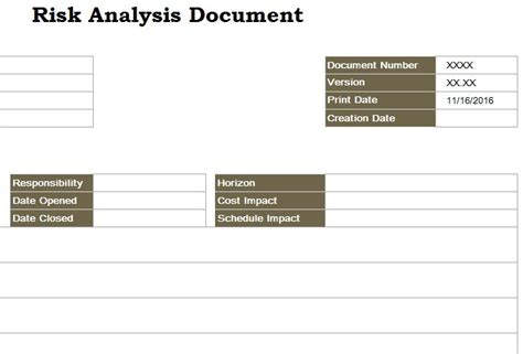 risk analysis template risk analysis document my excel templates