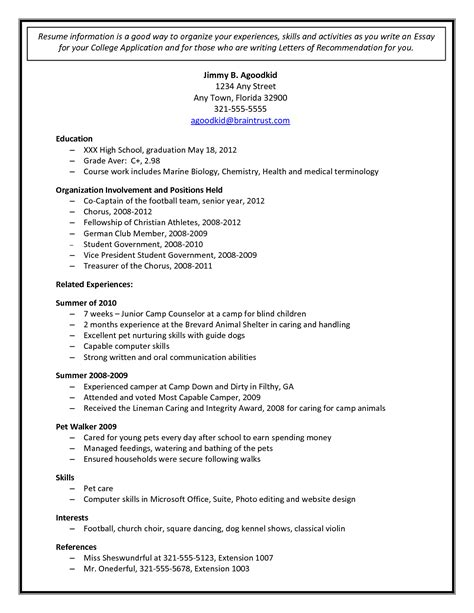 Resume Template For School Application College Application Resume Template Health Symptoms And Cure