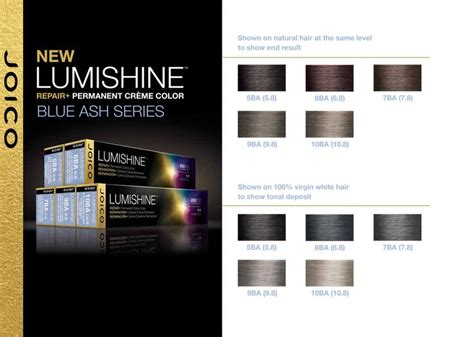 hair color chart joico joico lumishine blue ash series color charts