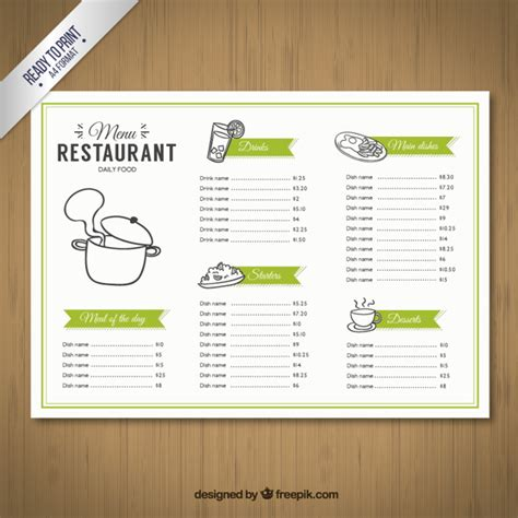 sketchy menu template vector free download