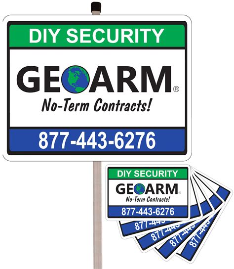 geoarm home security sign w post and 5 pack stickers combo