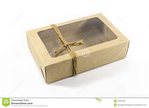 paper box with window brown paper box with transparent window stock photo
