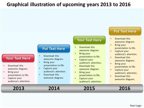 Product Roadmap Timeline Graphical Illustration Of Upcoming Years 2013 To 2016 Powerpoint Strategy Roadmap Ppt
