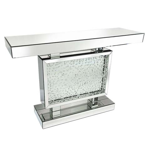 Mirrored Glass Floating Crystal Console Table