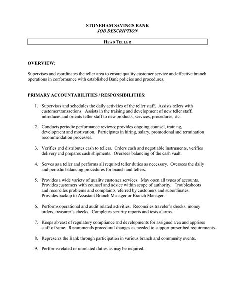 bank teller job description resume sle