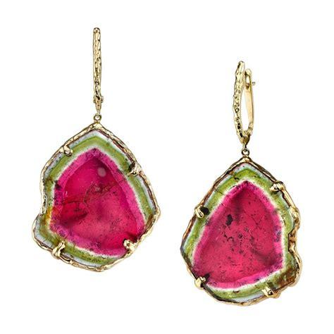 watermelon tourmaline slice gold earrings at 1stdibs