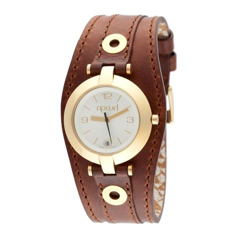 rip curl soho gold brown leather cuff womens waterproof surf new in box ebay