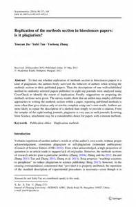 Research Papers On Methods by Replication Of The Methods Section In Biosciences Papers