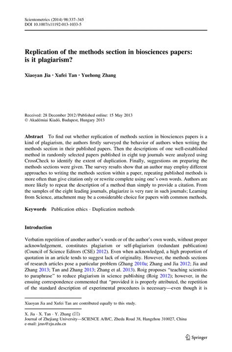method section of a research paper replication of the methods section in biosciences papers