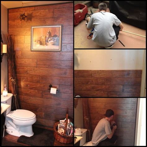 what to do with leftover tile my husband used some leftover laminate flooring we had to redecorate our guest bathroom turned