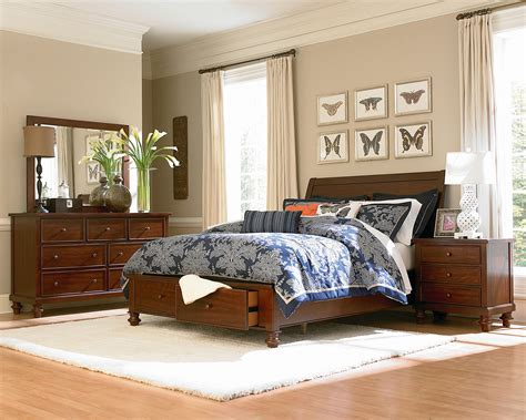 camden bedroom furniture camden 4 piece king storage bedroom set chestnut levin