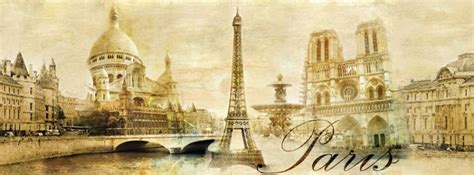 Eiffel Tower Wall Murals panoramic mural sticker paris vintage classic gold by