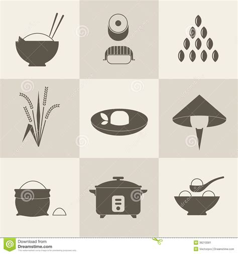 eps format is used for rice icons stock vector illustration of silhouette asian