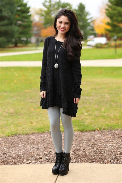 Malika Knitt Tunic By Mezora black sweater dress with and boots sweater vest