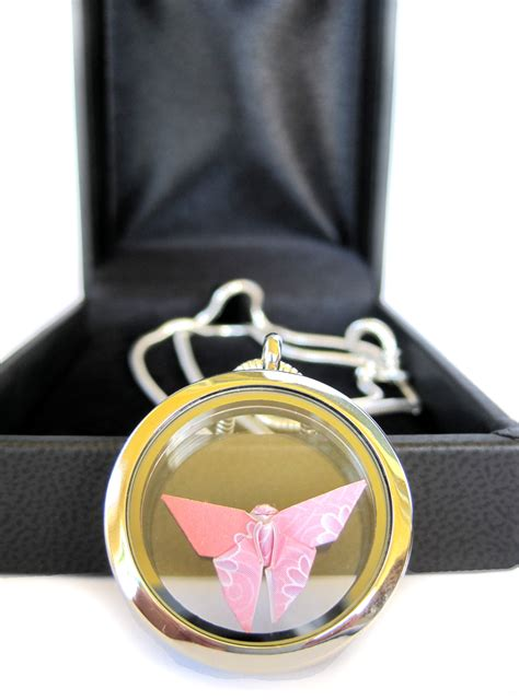 Origami Locket Necklace - origami butterfly necklace floating locket pendant