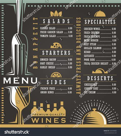 food menu layout design wine food menu design concept restaurant stock vector