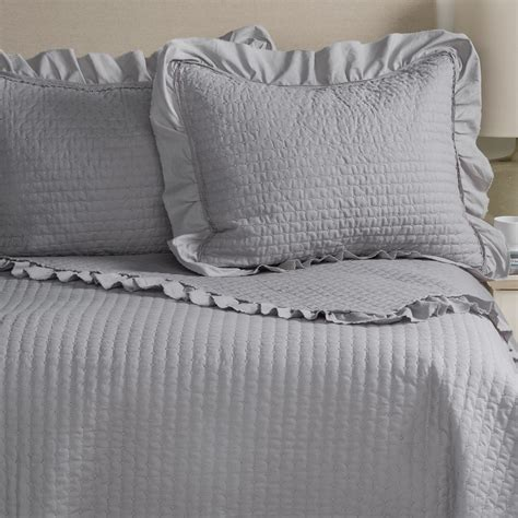 Blue Quilted Pillow Shams by Fleur De Lis Blue Circle Dot Ruffled Quilted Pillow Shams
