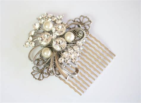 Vintage Wedding Hair Jewellery by Hair Comb Wedding Handmade With Vintage Jewelry Jeweled