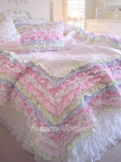 little girls bedding shabby cottage colors chic petticoat ruffles full queen