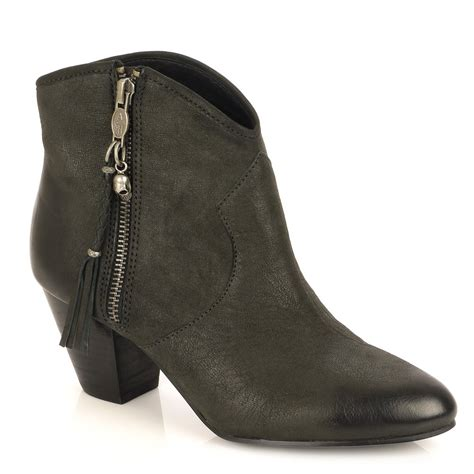 jessbis black leather ankle boot black heel