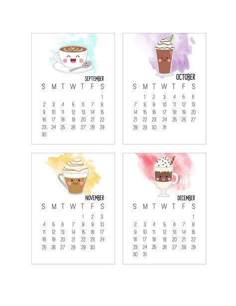 printable calendar kawaii free printable 2018 kawaii coffee journal card calendar