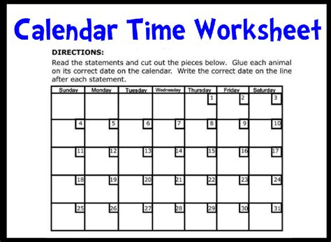 Calendar Worksheet by Calendar Time Printable Worksheet With Answer Key Lesson Activity Amazingclassroom