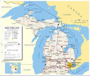 Michigan On A Map by Michigan Map Michigan State Map Michigan Road Map Map Of