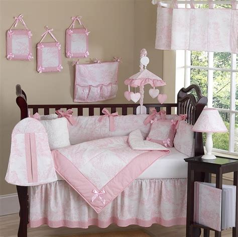 pink toile bedding pink and white french toile baby bedding 9 pc crib set