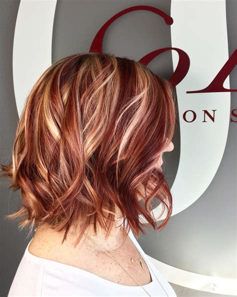 hairstyles blonde and red highlights red and blonde highlight lowlight hair by kristine norris