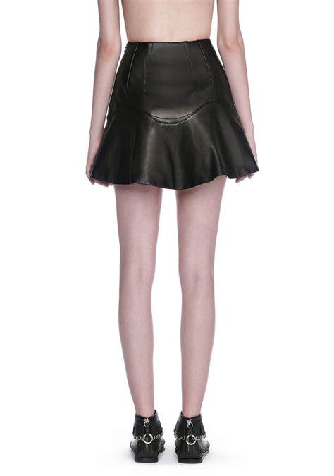 high waisted leather mini skirt skirt wang