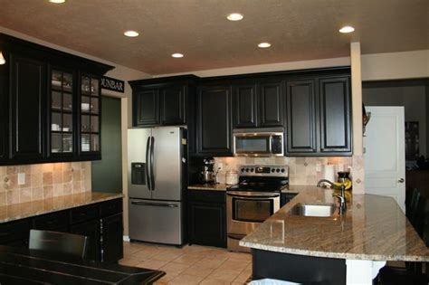 refinished black cabinets color sherwin williams tricorn black refinished cabinet pictures