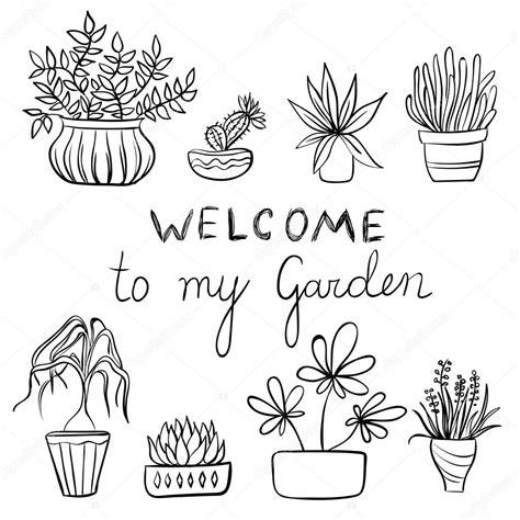 vaso fiori dwg insieme di piante in vaso giardinaggio illustrazione con