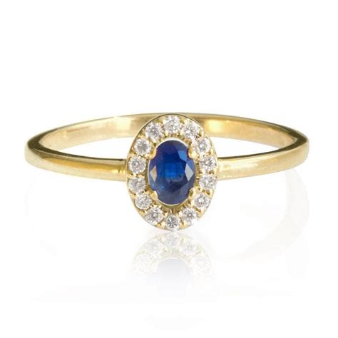 blue sapphire engagement ring 14k gold ring halo
