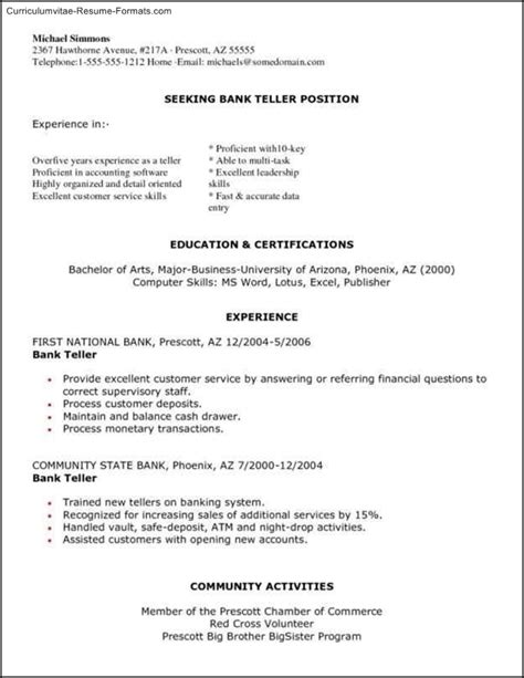 Curriculum Vitae Sle For Bank Teller Bank Teller Resume Templates Free Sles Exles Format Resume Curruculum Vitae Free
